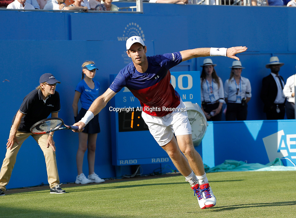 June 20th 2017, Queens Club, West Kensington, London; Aegon Tennis Championships, Day 2; Number one seed Andy Murray (GBR) misses his final forehand  of the match during his 1st round  singles match against Jordan Thompson (AUS); Thompson won in straight sets