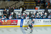 KELOWNA, CANADA - FEBRUARY 24:  Conner Bruggen-Cate #20 of the Kelowna Rockets celebrates a goal against the Kamloops Blazers on February 24, 2018 at Prospera Place in Kelowna, British Columbia, Canada.  (Photo by Marissa Baecker/Shoot the Breeze)  *** Local Caption ***