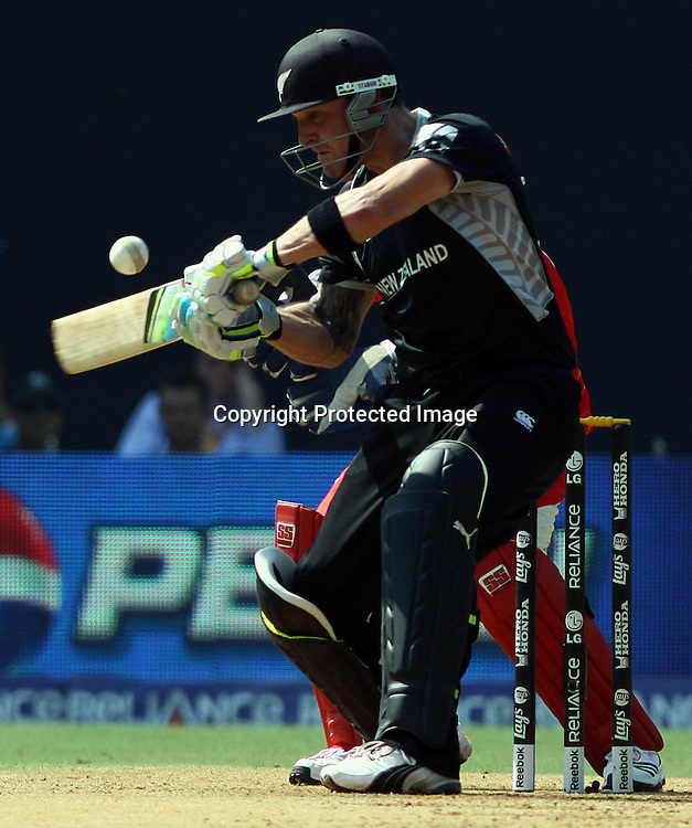 New Zealand batsman Brendon McCullum plays a shot against Canada During the ICC Wolrd Cup-2011 Canada vs New Zealand match Played at Wankhede Stadium, Mumbai