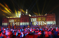 LONDON, UK: Buckingham Palace is the backdrop to a spectacular laser and firework display to mark The Queen's Golden Jubilee on the 3rd June 2002. PHOTOGRAPH BY JAMES WHATLING