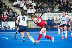 Holcombe's Sarah Jones shots. East Grinstead v Holcombe - Semi-Final - Investec Women's Hockey League Finals, Lee Valley Hockey & Tennis Centre, London, UK on 22 April 2017. Photo: Simon Parker