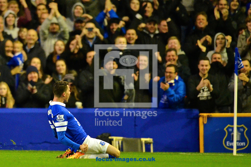 Picture by Ian Wadkins/Focus Images Ltd +44 7877 568959<br /> 30/11/2013<br /> Bryan Oviedo of Everton celebrates after scoring to make it 3-0 during the Barclays Premier League match at Goodison Park, Liverpool.