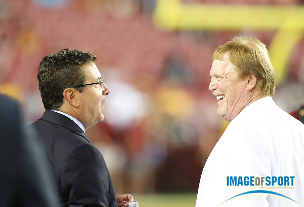 Sep 24, 2017; Landover, MD, USA; Oakland Raiders owner Mark Davis and Washington Redskins owner Daniel Snyder talk before an NFL football game at FedEx Field.