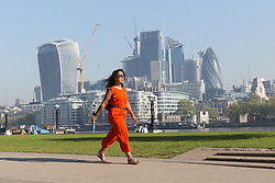 © Licensed to London News Pictures. 08/05/2018. London, UK. People walk to work in the sunshine and warm weather on the South Bank in London this morning. Photo credit: Vickie Flores/LNP