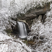 Winter snowscape of Looking Glass falls in the Pisgah national forest.