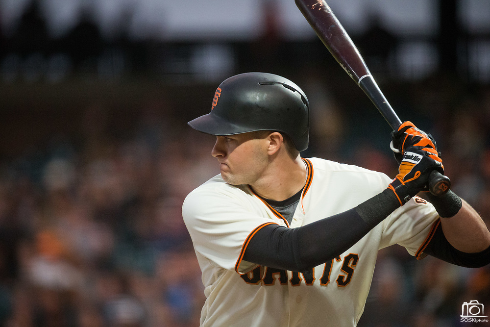 San Francisco Giants first baseman Ryder Jones (63) bats against the Milwaukee Brewers at AT&T Park in San Francisco, California, on August 21, 2017. (Stan Olszewski/Special to S.F. Examiner)