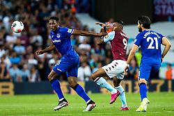 Yerry Mina of Everton challenges Wesley of Aston Villa - Mandatory by-line: Robbie Stephenson/JMP - 23/08/2019 - FOOTBALL - Villa Park - Birmingham, England - Aston Villa v Everton - Premier League