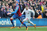 Crystal Palace defender Joel Ward  gets away from Liverpool defender Alberto Moreno (18)  during the Barclays Premier League match between Crystal Palace and Liverpool at Selhurst Park, London, England on 6 March 2016. Photo by Simon Davies.