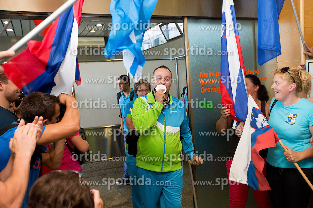 Francek Gorazd Tirsek of Team Slovenia at arrival to Airport Joze Pucnik after the London 2012 Paralympic Games on September 10, 2012, in Brnik, Slovenia. (Photo by Vid Ponikvar / Sportida.com)