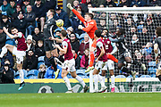 Burnley goalkeeper Nick Pope make a save during the Premier League match between Burnley and Leicester City at Turf Moor, Burnley, England on 19 January 2020.