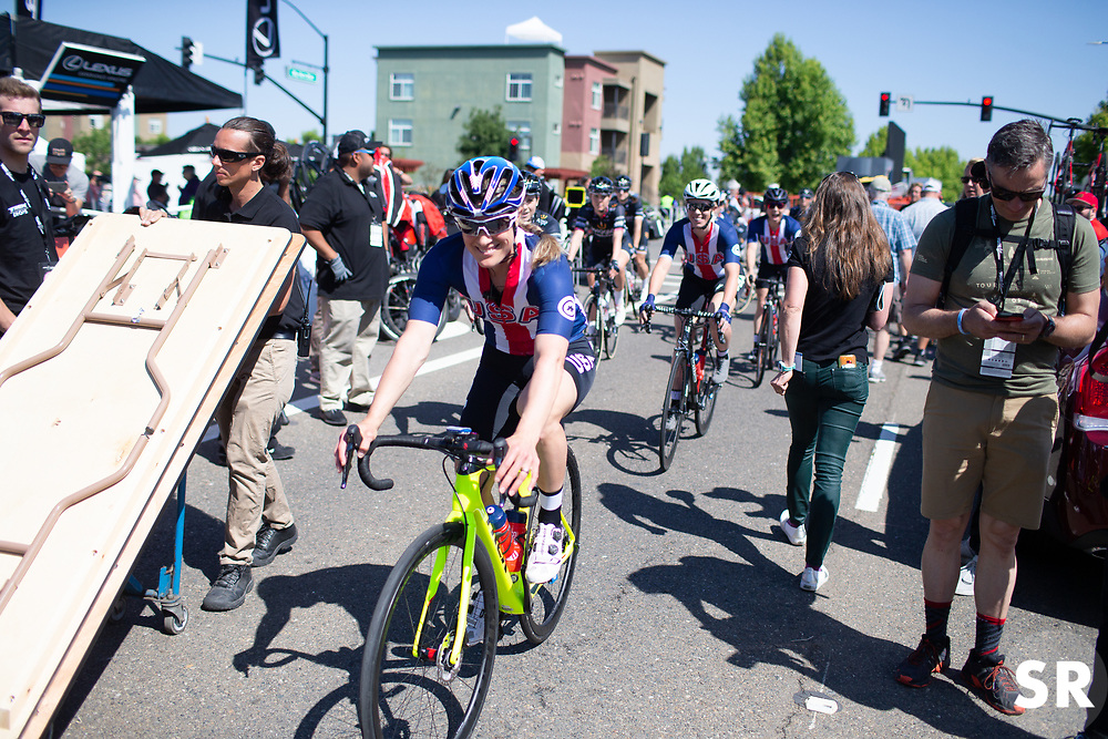 Katie Compton (USA) of USA Cycling National Team rides to the start line Stage 1 of the Amgen Tour of California - a 124 km road race, starting and finishing in Elk Grove on May 17, 2018, in California, United States. (Photo by Balint Hamvas/Velofocus.com)