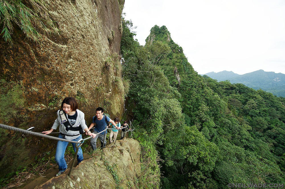 A hiking group descends the stairs a Xizozishan, near Pingxi, Taiwan.