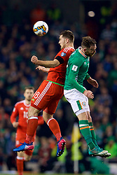 DUBLIN, REPUBLIC OF IRELAND - Friday, March 24, 2017: Wales' Sam Vokes in action against Republic of Ireland during the 2018 FIFA World Cup Qualifying Group D match at the Aviva Stadium. (Pic by David Rawcliffe/Propaganda)