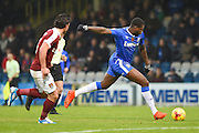 Gillingham forward Jay Emmanuel-Thomas (50) has a shot  during the EFL Sky Bet League 1 match between Gillingham and Northampton Town at the MEMS Priestfield Stadium, Gillingham, England on 12 November 2016. Photo by Martin Cole.