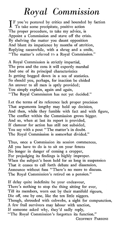 Royal Commission, poem by Geoffrey Parsons.