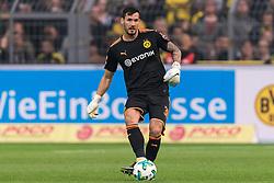 goalkeeper Roman Burki of Borussia Dortmund during the Bundesliga match between Borussia Dortmund and Borussia Mönchengladbach on September 23, 2017 at the Signal Iduna Park stadium in Dortmund, Germany.