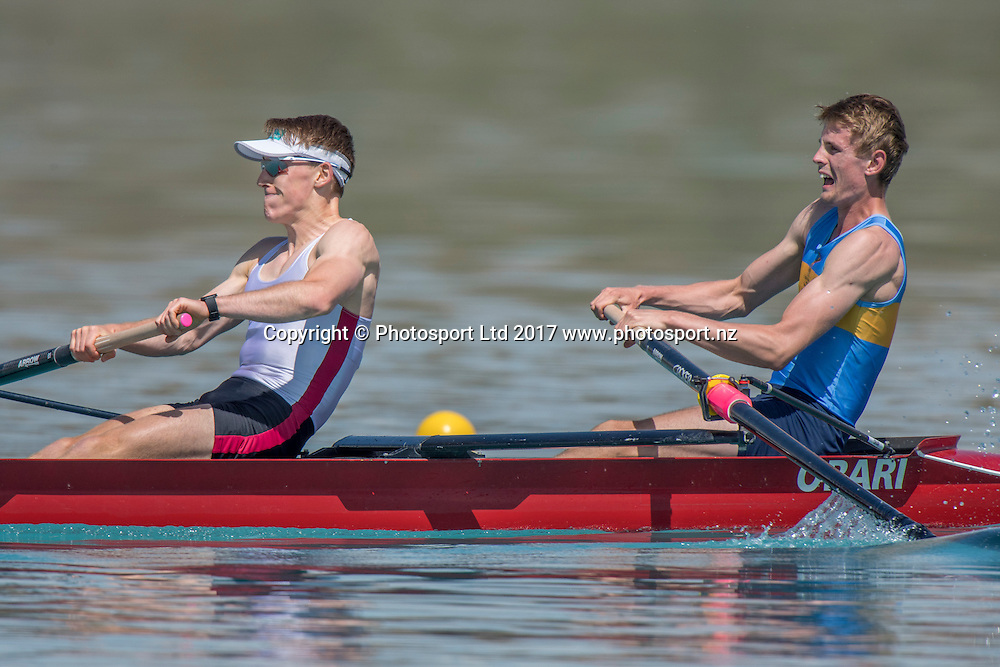 Jared van Vianen (stroke) and Corey Lewis, (Southern RPC) - 1st place Premier lightweight pair final, NZ Rowing Championships, 17 February 2017 , Lake Ruataniwha © Copyright photo: Steve McArthur / www.photosport.nz