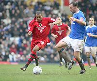 Photo: Mark Stephenson.<br /> Birmingham City v Cardiff City. Coca Cola Championship. 04/03/2007.Cardiff's Matthew Green takes on Birningham's Martin Taylor