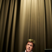 HUGH GRANT participates in a fringe event - 'Phone Hacking, Privacy and Libel - The future of the Press', as part of the Hacked Off campaign, during the Labour Party Conference at the ACC Liverpool.