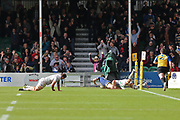 Worcester Warriors Chris Pennell  Full back (15) scores a crucial try in the second half during the Aviva Premiership match between Worcester Warriors and Bath Rugby at Sixways Stadium, Worcester, United Kingdom on 15 April 2017. Photo by Gary Learmonth.