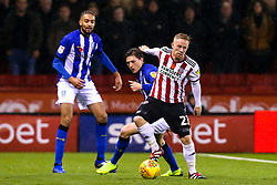 Mark Duffy of Sheffield United goes past Adam Reach of Sheffield Wednesday - Mandatory by-line: Robbie Stephenson/JMP - 09/11/2018 - FOOTBALL - Bramall Lane - Sheffield, England - Sheffield United v Sheffield Wednesday - Sky Bet Championship