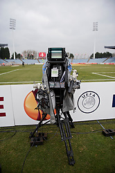 LILLE, FRANCE - Thursday, March 11, 2010: A television camera before the UEFA Europa League Round of 16 1st Leg match at the Stadium Lille-Metropole. (Photo by David Rawcliffe/Propaganda)