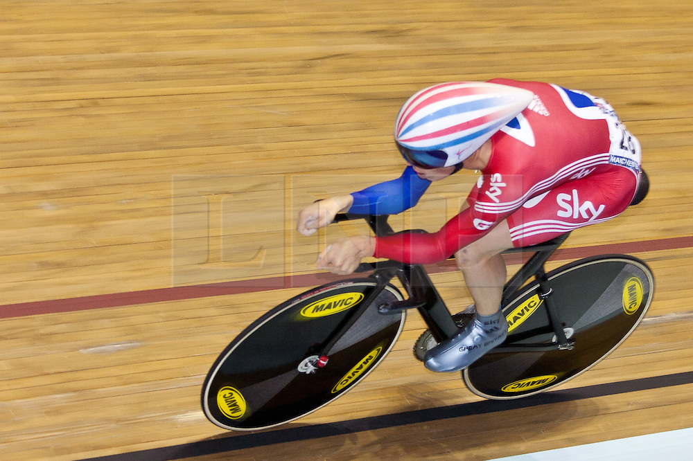 © Licensed to London News Pictures. 19/02/2011. Ben SWIFT of team Great Britain competes in the Men's Omnium, Individual Pursuit against Cho of Korea. SWIFT went 5th with a time of 4:29.432. At the UCI Track Cycling World Cup, Manchester this evening (19/02/2011). Photo credit should read: Reuben Tabner/LNP