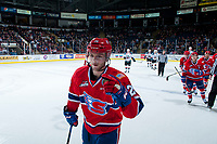 KELOWNA, CANADA - MARCH 3:  Hudson Elynuik #26 of the Spokane Chiefs skates to the bench to celebrate a goal against the Kelowna Rockets on March 3, 2018 at Prospera Place in Kelowna, British Columbia, Canada.  (Photo by Marissa Baecker/Shoot the Breeze)  *** Local Caption ***