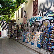 Souveniers for sale in the Plaka neighborhood of Athens, Greece