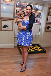ALEX MEYERS and her dog Ribbons at The Dog's Trust Awards announcement held at George, 87-88 Mount Street, London on 27th March 2012.
