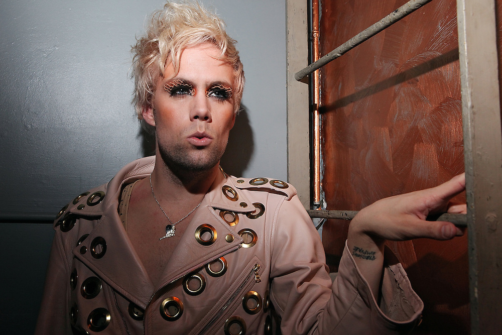 NEW YORK - APRIL 26:   Justin Tranter of Semi Precious Weapons pose for portrait backstage at The Bowery Ballroom on April 26, 2010 in New York City.  (Photo by Roger Kisby/Getty Images)