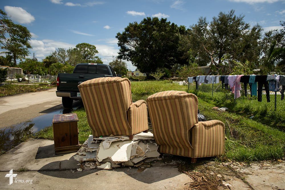 Furniture damaged by Hurricane Irma dries outside a home on Wednesday, Sept. 13, 2017, in Bonita Springs, Fla. LCMS Communications/Erik M. Lunsford