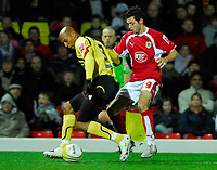 Photo: Leigh Quinnell/Sportsbeat Images.<br /> Watford v Bristol City. Coca Cola Championship. 01/12/2007. Bristol Citys Ivan Sproule battles with Watfords Jordan Stewart.