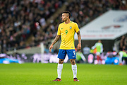Brazil (9) Gabriel Jesus during the International Friendly match between England and Brazil at Wembley Stadium, London, England on 14 November 2017. Photo by Sebastian Frej.