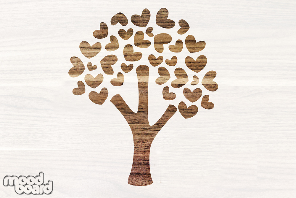 Photo of Creative tree paper cutout in office