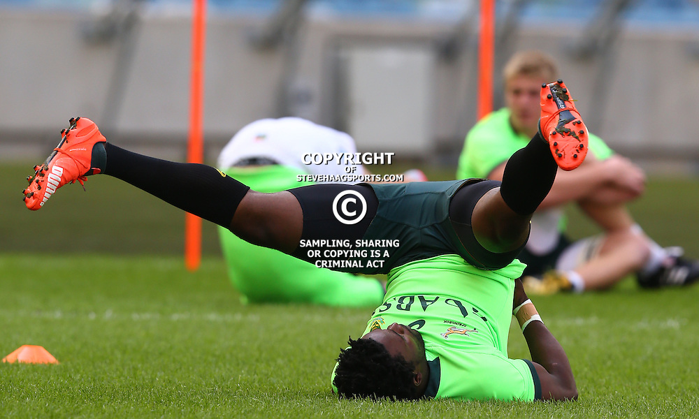 DURBAN, SOUTH AFRICA - AUGUST 21: Lwazi Mvovo during the South African national rugby team training session at Moses Mabhida Stadium on August 21, 2015 in Durban, South Africa. (Photo by Steve Haag/Gallo Images)