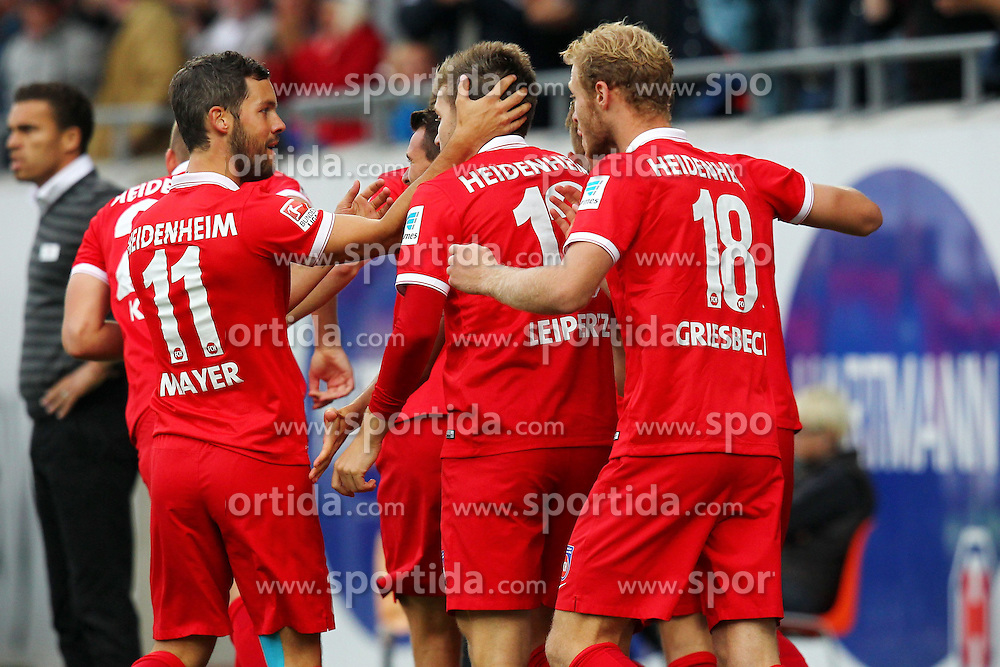 24.09.2014, Voith Arena, Heidenheim, GER, 2. FBL, 1. FC Heidenheim vs 1. FC Nuernberg, 7. Runde, im Bild Jubel nach dem 1:0 // during the 2nd German Bundesliga 7th round match between 1. FC Heidenheim and 1. FC Nuernberg at the Voith Arena in Heidenheim, Germany on 2014/09/24. EXPA Pictures &copy; 2014, PhotoCredit: EXPA/ Eibner-Pressefoto/ Langer<br /> <br /> *****ATTENTION - OUT of GER*****