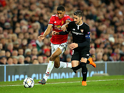Marcus Rashford of Manchester United takes on Sergio Escudero of Sevilla - Mandatory by-line: Robbie Stephenson/JMP - 13/03/2018 - FOOTBALL - Old Trafford - Manchester, England - Manchester United v Sevilla - UEFA Champions League Round of 16 2nd Leg
