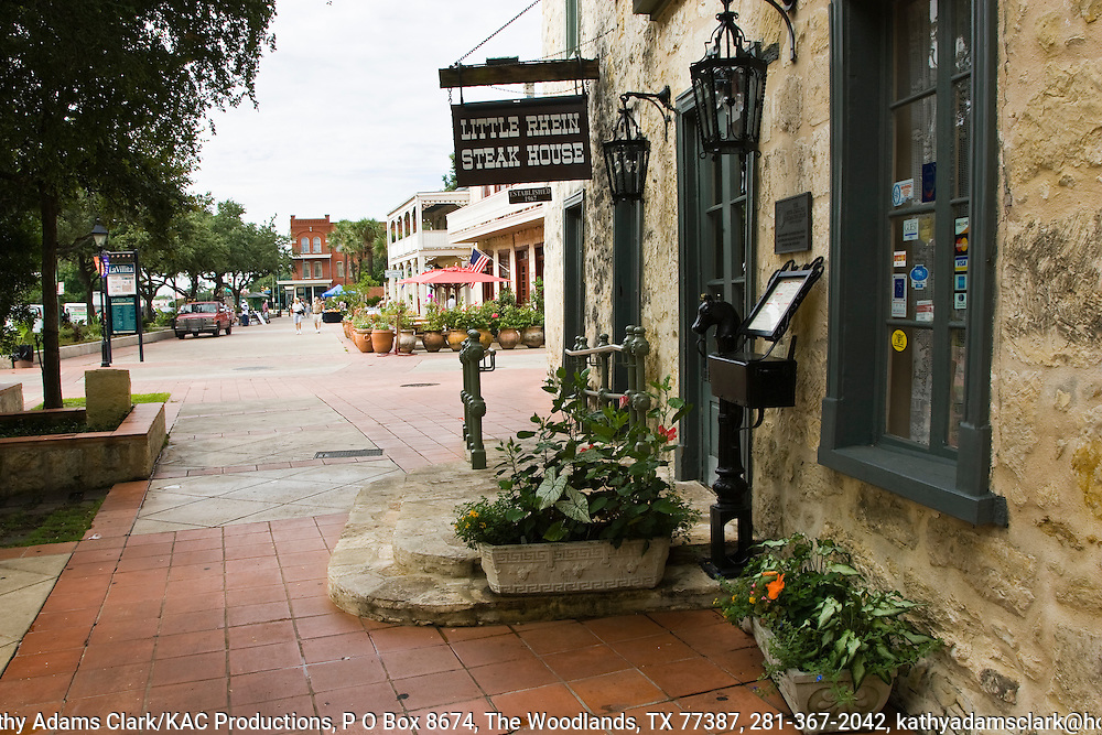 The Little Rhein Steak House is a good example of the loving restoration undertaken in the La Villita area of San Antonio.  Otto Bombach lived and worked in this  building around 1855. The building was purchased and restored in 1950 by the San Antonio Conservation Society.