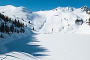 Sicht auf erfroren Oberstockensee