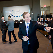 February 9, 2012 - New York, NY : Taoiseach (Irish Prime Minister) Enda Kenny, center, meets American and Irish-American business leaders at the start of a roundtable with former U.S. President Bill Clinton (not pictured) at New York University on Thursday morning, Feb. 9, 2012..CREDIT: Karsten Moran for The Irish Independent