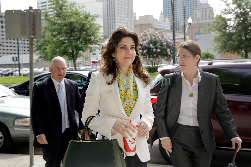 03 June  2015. New Orleans, Louisiana. <br /> L/R Ryan LeBlanc, Rita Benson LeBlanc and their mother Renee LeBlanc arrive at  Civil Distrcit Court for week 2 of a hearing to determine the competency of grandfather/father Tom Benson. Benson is the billionaire owner of the NFL New Orleans Saints, the NBA New Orleans Pelicans, various auto dealerships, banks, property assets and a slew of business interests. Rita, her brother and mother demanded a competency hearing after Benson changed his succession plans and decided to leave the bulk of his estate to third wife Gayle, sparking a controversial fight over control of the Benson business empire.<br /> Photo©; Charlie Varley/varleypix.com