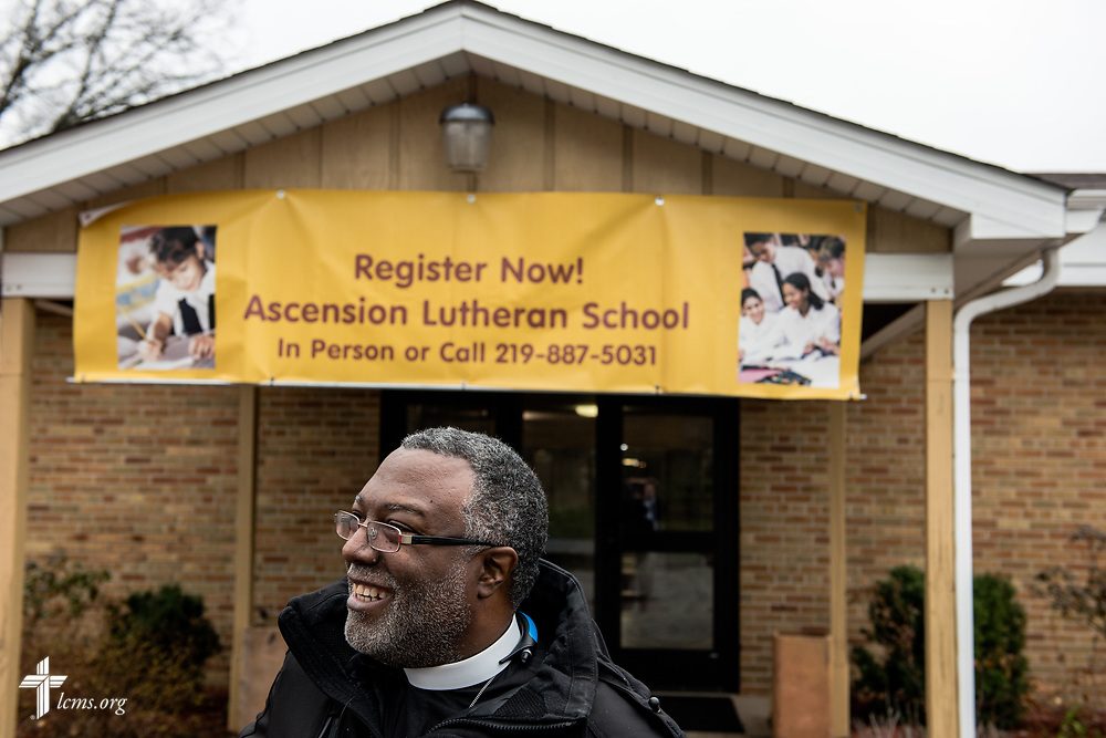 The Rev. Delwyn Campbell, national missionary to Gary, Ind., stands outside the upcoming Ascension Lutheran School on Wednesday, April 5, 2017, in Gary. Campbell is helping to oversee the renovation of the school in the parish. LCMS Communications/Erik M. Lunsford