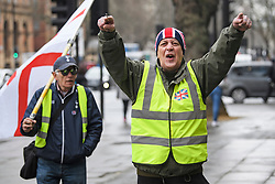 © Licensed to London News Pictures. 19/03/2019. London, UK. Yellow Vest protestors gather outside Westminster Magistrates Court in London where James Goddard is charged with harassing MP Anna Soubry and two public order offences against a police officer.  Photo credit: Ben Cawthra/LNP