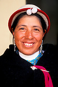 ECUADOR, HIGHLANDS, CANAR Canari Indian with traditional hats