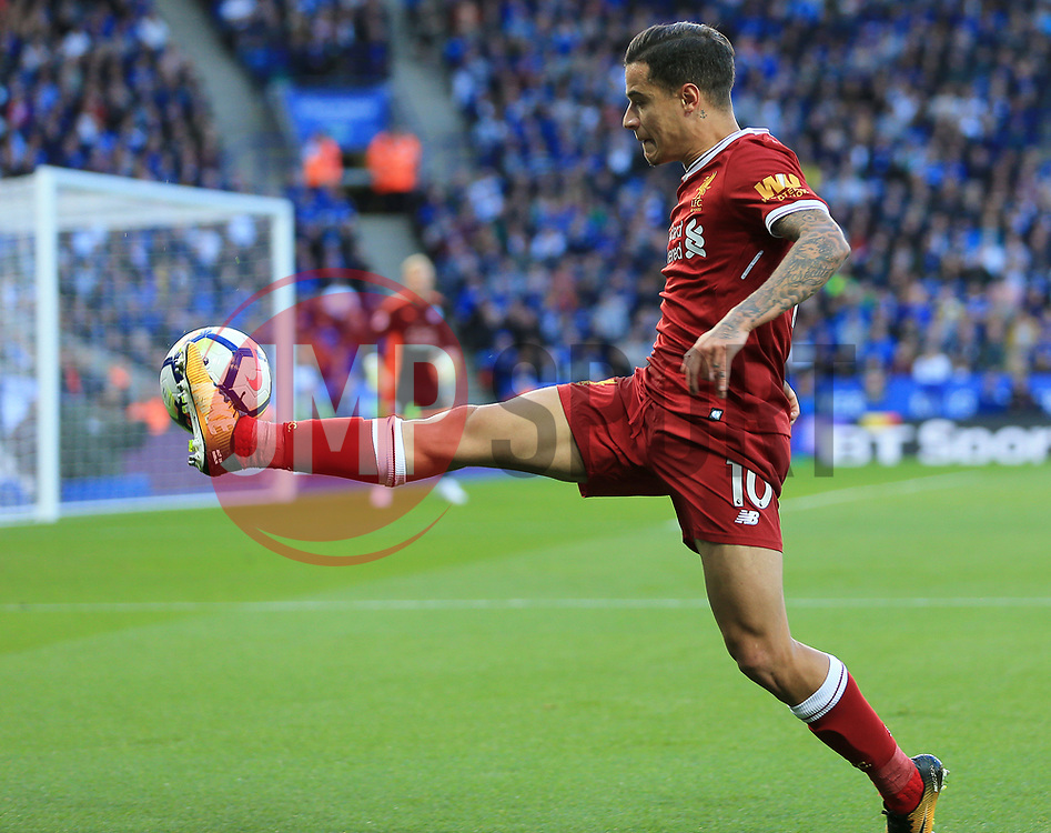 Philippe Coutinho of Liverpool controls a cross field ball - Mandatory by-line: Paul Roberts/JMP - 23/09/2017 - FOOTBALL - King Power Stadium - Leicester, England - Leicester City v Liverpool - Premier League