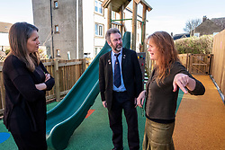 Pictured: Aileen Campbell and Councillor Steven Heddle (representing COSLA) were shown the facilities that last years award helped deliver by Hub manager Bridie Ashraven <br /> <br /> Aileen Campbell, MSP, on visit to Space in ESpacedinburgh, a previous charity recipient, announced the  latest £25m regeneration funding. <br /> <br /> Ger Harley | EEm 27 February 2020