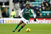 Efe Ambrose (#25) of Hibernian on the ball during the Ladbrokes Scottish Premiership match between Hibernian and Rangers at Easter Road, Edinburgh, Scotland on 19 December 2018.