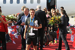 15.07.2014, Flughafen, München, GER, FIFA WM, Empfang der Weltmeister in Deutschland, Finale, im Bild Philipp Lahm #16 (Deutschland) kommt aus der Maschine // during Celebration of Team Germany for Champion of the FIFA Worldcup Brazil 2014 at the Flughafen in München, Germany on 2014/07/15. EXPA Pictures © 2014, PhotoCredit: EXPA/ Eibner-Pressefoto/ Kolbert<br /> <br /> *****ATTENTION - OUT of GER*****