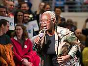20 JANUARY 2020 - DES MOINES, IOWA: State Senator NINA TURNER (D-OH) campaigns on behalf of Sen. Bernie Sanders at the State Historical Museum of Iowa in Des Moines. Sen. Sanders is in Iowa campaigning to be the Democratic presidential nominee in 2020. Iowa hosts the first selection event of the presidential election cycle. The Iowa Caucuses are Feb. 3, 2020.        PHOTO BY JACK KURTZ